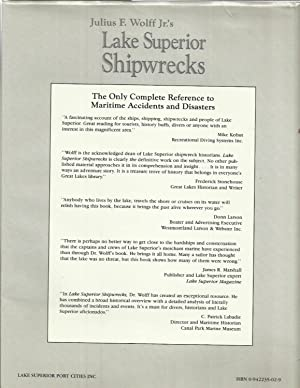 LAKE SUPERIOR SHIPWRECKS: Complete Reference To Maritime Accidents and Disasters.: Wolff, Julius F....