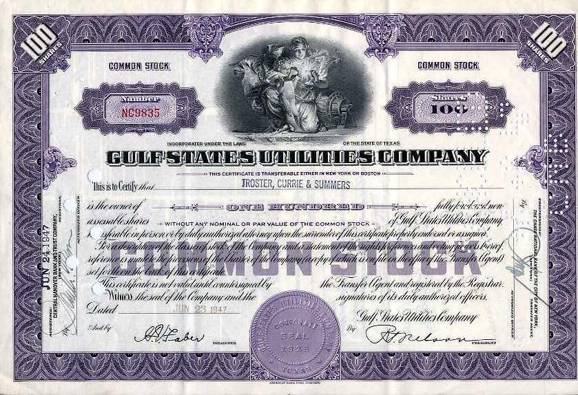 Gulf States Utilities Company Stock Certificate 1947 100 Shares
