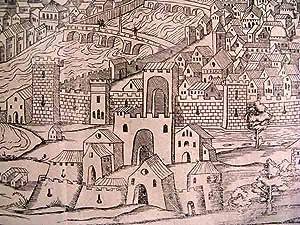 c. 1550 Map of Florence, Italy ~ 'De Italia Florentia nobilissima Hethruriae ciuitas, ...