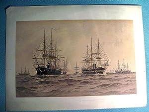 Lithograph, Frederick S. Cozzens, naval vessels 'Hartford',: Frederick S. Cozzens