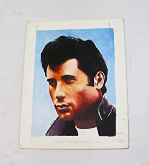 An original illustration by Paul Green for 'The John Travolta Annual 1981',