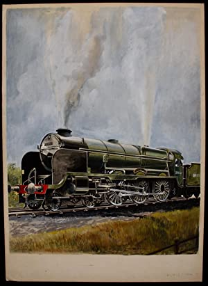 Group of 3 original artworks by Paul B Mann of locomotives all gouache and water-colour. All 46 x...