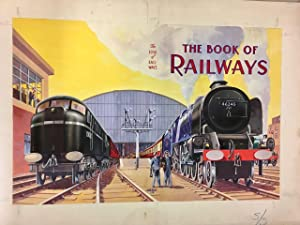 Group of original locomotive themed book illustrations by various artists Brian Pearce, R M Clark...