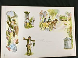 Collection of 18 original artworks of for 'Worzel Gummidge' watercolour with pen and ink on board