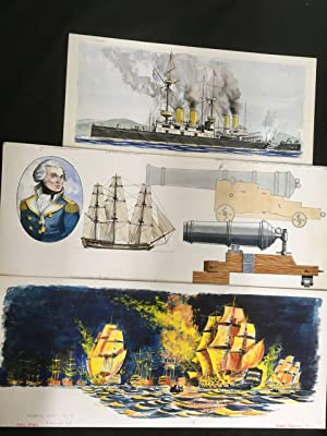 George Tuckwell 62 original illustrations for 'Fighting Ships' by Kenneth Allen, pen and ink and ...