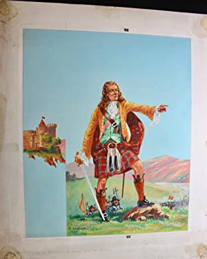 An original watercolour by C Leslie of a Scottish Clan Chieftan for an unknown book 33 x 27 cms
