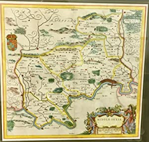 Blaeu Middle Sexia Middlesex hand coloured map c. 1646