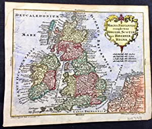 Lotter hand coloured map of Great Britain 1762