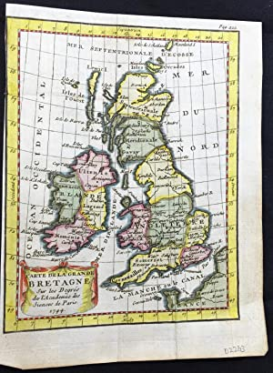 Buffier 1744 hand coloured map of Great Britain