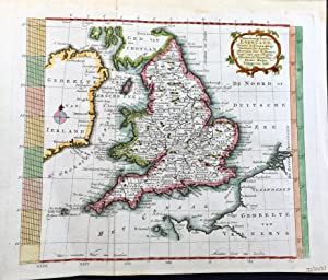Pieter Meijer hand coloured map of Great Britain 1768