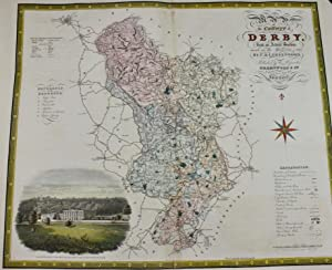 Greenwood Map of the County of Derby 1830 steel engraving with hand-colouring