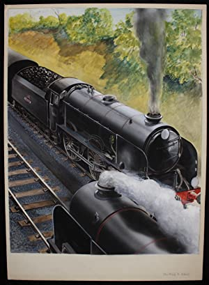 Original Signed artwork by Paul B Mann of locomotive