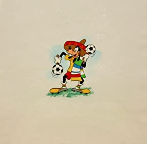 Walt Disney animation cell: Goofy as a footballer, ink on acetate.