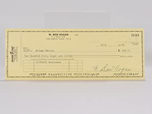 Bank One signed/ autographed cheque