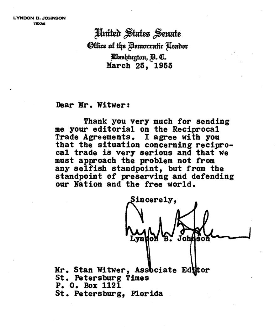 PRESIDENT LYNDON B. JOHNSON - TYPED LETTER SIGNED 3/25/1955