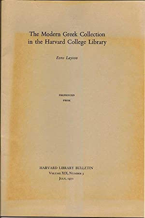 The Modern Greek Collection In The Harvard College Library