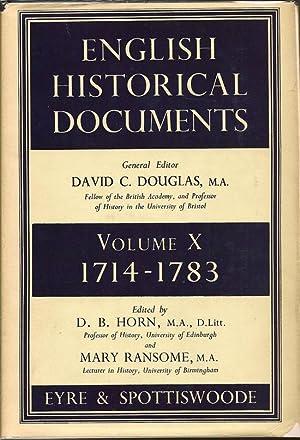 English Historical Documents Volume X 1714-1783: DOUGLAS, DAVID C. (Editor)