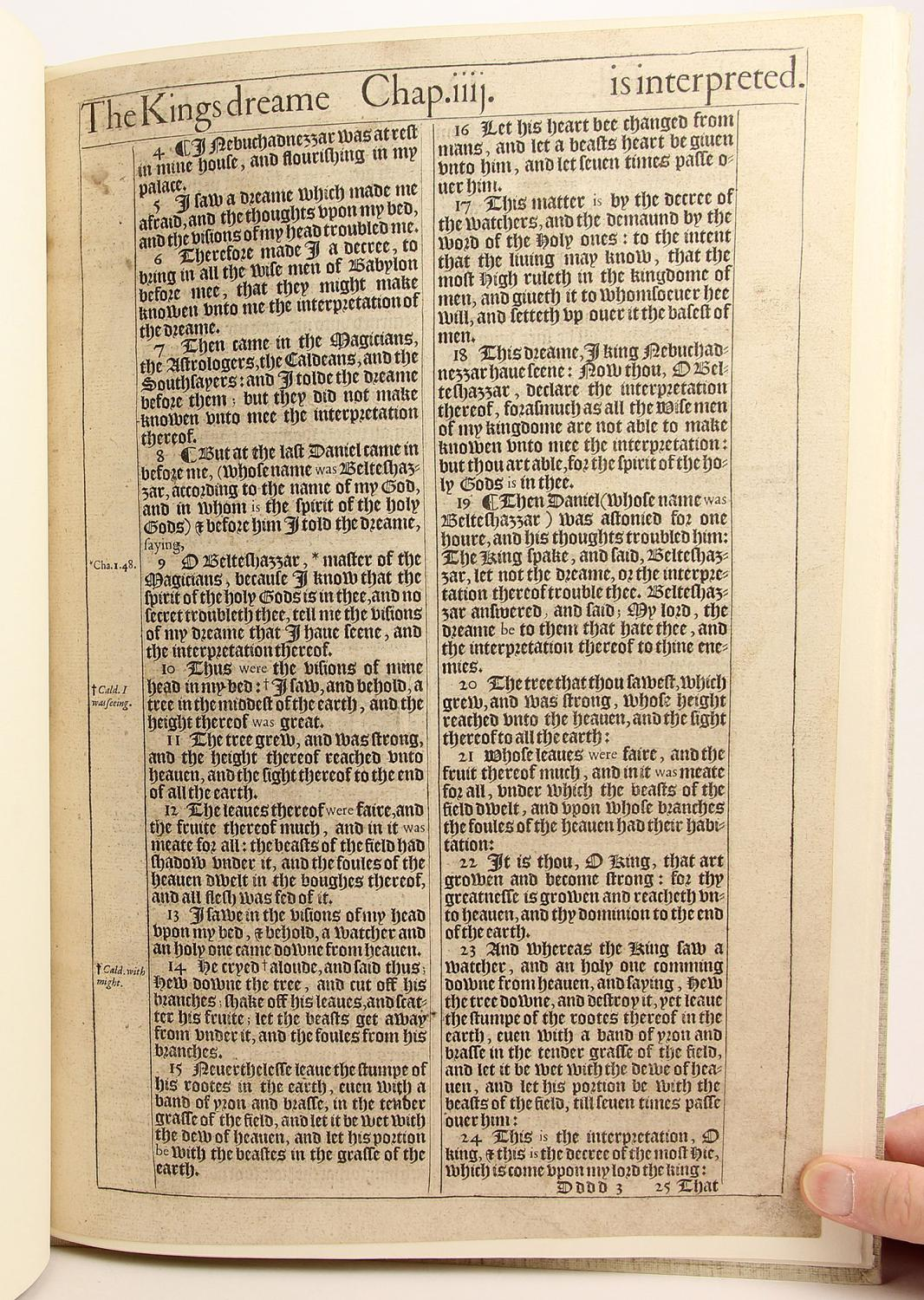 A Leaf from the 1611 King James Bible  With