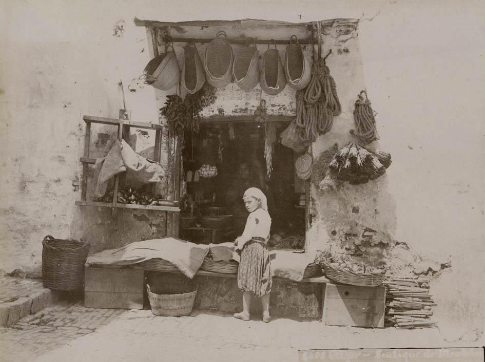 Boutique. ALGER. ca. 1890. Original photograph, albumen print, 18,5 x 24,8 cm, on mount. Photograph no 2408. KEYWORDS:algeria/alger/photo