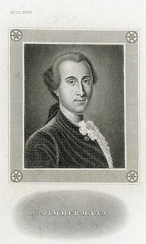Portrait engraving of Johann Georg Ritter von: ZIMMERMANN, J. G.