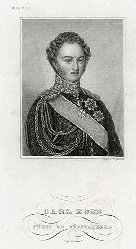 Portrait engraving of Carl Egon Fürst zu Fürstenberg.: EGON, Carl.
