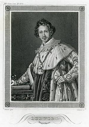 Portrait engraving of Ludwig I. König von Bayern.: LUDWIG I.