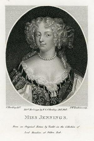 Portrait engraving of Miss Jennings (Sarah Churchill or Frances Talbot, Duchess of Tyrconnel?).: ...