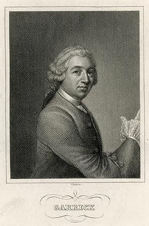 Portrait engraving of David Garrick.: GARRICK, David.
