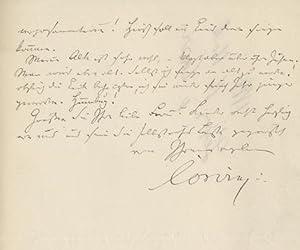 Autograph Letter, Leipzig 16 November 1883.: CORVIN, Otto von, Schriftsteller und Journalist (1812-...