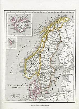 Suède, Norvëge, Danemark. (With insert maps of: MONIN C.V., A.