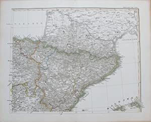 Engraved map of Northeast Spain with Menorca.: STIELER, Adolf.