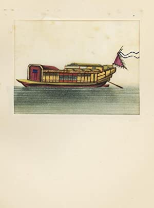Ship with red flag. Chinese mulberry-drawing,: CHINA.