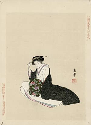 Beauty relaxing in fine silks adjusts her hairpin.: OKYO, Maruyama.