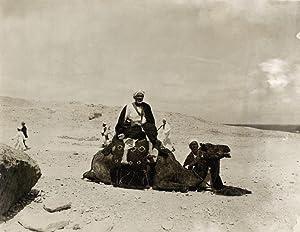 Araber mit ihren Kamelen in der Wüste.: LEIPZIGER PRESSE-BURO.