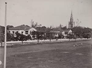 Hotel de l'Europe, with play-ground in front, and the tower of the St. Andrew's Cathedral, ...