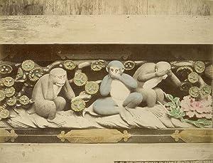 The three monkey on stable shinto temple Nikko.: NIKKO.