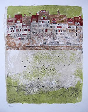 Impression a town border. Original coloured lithograph.: CZINNER, Ossi.