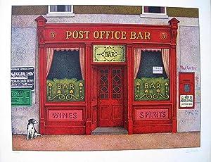 Post Office Bar. Original coloured lithograph.: MORITZ, Klaus.