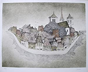 Impression on a village. original coloured lithograph.: CZINNER, Ossi