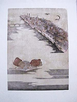 Impression on town with river and bridge.: CZINNER, Ossi.