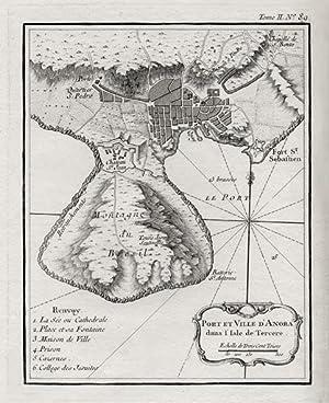 Port et Ville d'Angra dans l'Isle de Tercere.: BELLIN, J. N.