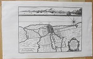 Carte des Environs de Batavia. Avec la Vuë de cette Ville. Pour Servir à l'Histoire Generale ...