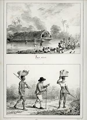 Lithograph with two pictures, ferry-boat and planter with two slaves on journey.: SURINAM.
