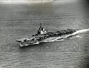 Aerial view of HMS Victorious, with Fairey Albacores on deck.: HMS VICTORIOUS.
