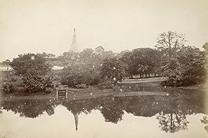 Pagoda Rangoon, with lake and parc.: RANGOON.