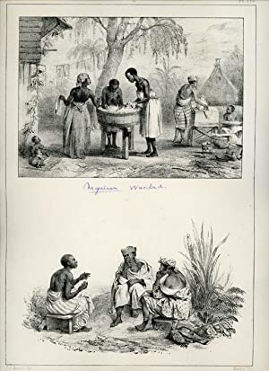 Lithograph with 2 pictures of women washing, and three woman sitting.: SURINAM.