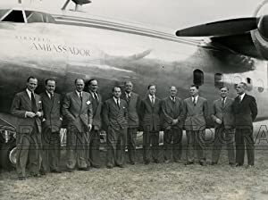 Group of De Haviland personalities shows, left to right, C,S,Thom, Business Manager; John Jardine, ...