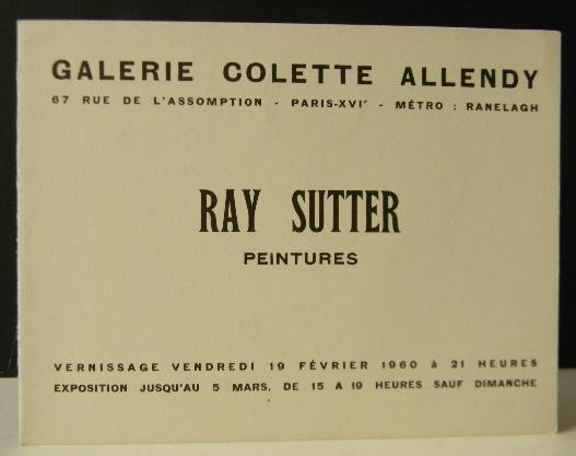 Ray Sutter Peintures Carton D Invitation Au Vernissage De L
