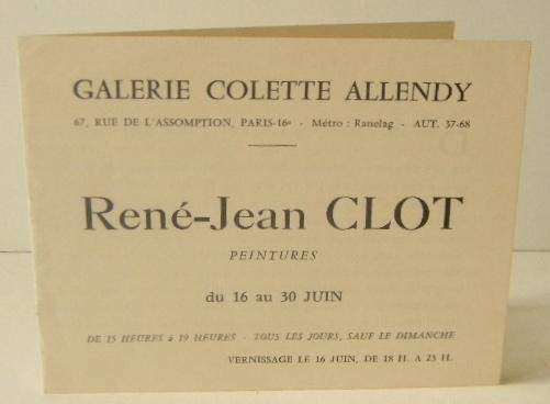 Rene Jean Clot Peintures Carton D Invitation Au Vernissage De L