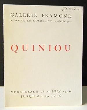 QUINIOU. Catalogue exposition Galerie Framond, Paris 1946.: BORY (Jean-Louis)